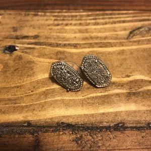 Ellie Silver Stud Earrings In Platinum Drusy